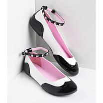 Black & White Patent Studded Saddle Spectator Flats Shoes