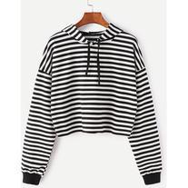 Black White Striped Drop Shoulder Drawstring Hooded Crop