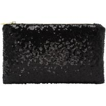Black Zipper Sequined Clutch Bag