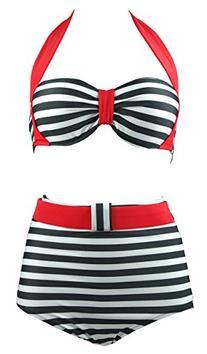 Cocoship BlackStripe Vintage High Waisted Bikini Swimsuits