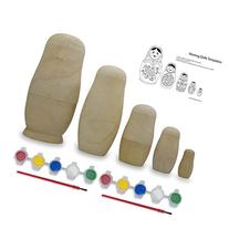 "6"" Set of 5 Blank Unpainted Wooden Nesting Dolls DIY Kit"