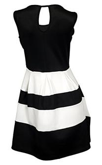 eVogues Plus size Color Block Flare Mini Dress Black White