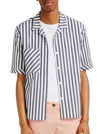 Topman Block Stripe Sport Shirt-GREY-Large