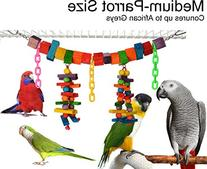 Color Blocks and Beads Swing & Chew Bird Toy