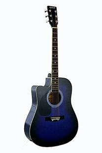 Full Size Blue Cutaway Acoustic Guitar with Free Carrying
