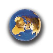 Blue Earth Marble With 22k Gold Continents, Recycled Glass,