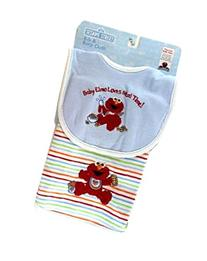 Blue Baby Elmo Loves Meal Time Bib and Burp Cloth Set