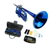 MERANO BLUE LACQUER PLATED TRUMPET WITH CASE + FREE METRO