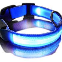 New Blue Nylon LED Dog Night Safety Collar Flashing Light up