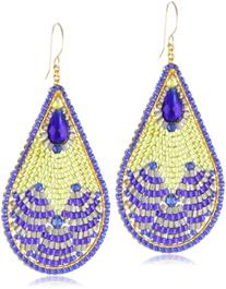 Miguel Ases Blue Created Quartz and Lime Green Teardrop