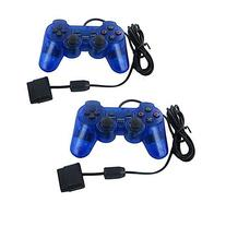 Blue Twin Shock Game Controller Joypad Pad for Sony PS2