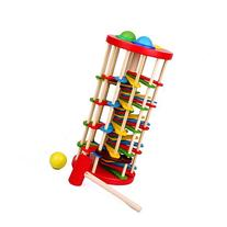 Bluelotus Wooden Colorful Hammer Pounding Ladder Toys Pound