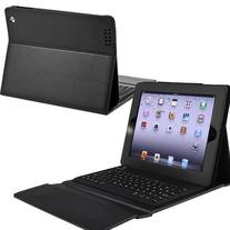 BATTOP Bluetooth Keyboard with Leather Case Stand Cover for