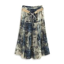 J.Cotton Women's Bohemian Style Color-printed Flax Belted