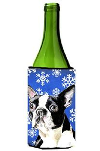 Boston Terrier Winter Snowflakes Holiday Wine Bottle