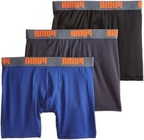 PUMA Men's 3 Pack Boxer Brief, Blue/Orange, Large