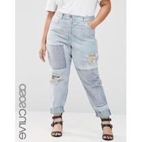 ASOS CURVE Brady Boyfriend Patched Denim Jeans