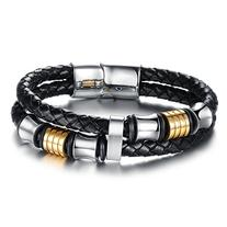 OPK Men Jewelry Braided Leather Wrap Bracelet Stainless