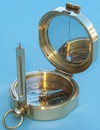 Brass Miner's Compass w/ Hardwood Case