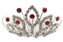 Bridal Heart Flower Girl Red Crystal Tiara Comb T21