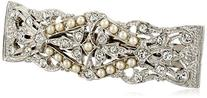 1928 Bridal Silver Tone Crystal Simulated Freshwater Pearl