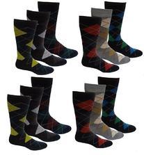 12 Pairs Men's Bright Colors Argyle Design Fancy Design