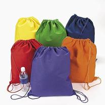 Large Bright Canvas Drawstring Backpacks  - Bulk  by Fun