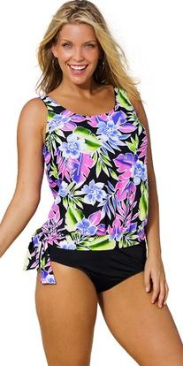 Beach Belle Women's Plus Size Blouson Tankini 22 Multi