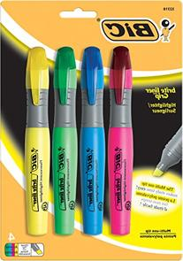 Bic Brite Liner Highlighter with Rubber Grip, Chisel Tip,
