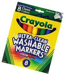 Crayola Washable Markers, Broad Point, Classic Colors, 8/