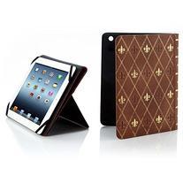 Brookstone Classic Case For iPad Tablet Tan Fleur De Lis