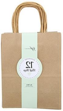 Brown Kraft Bag, Birthday Party Gift Favor Bag Set - 12