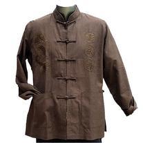 Brown Linen Dragon Kung Fu Jacket, Size L
