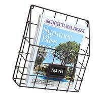 Brown Metal Wire Wall Magazine Rack Bin / Newspaper Rack /