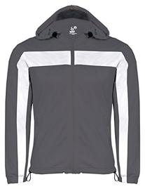 Badger Adult Brushed Tricot Hooded Jacket, Graphite/ White,
