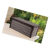 Keter Brushwood 120 Gal. Resin Patio or Pool Deck Box, Brown