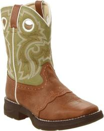 Durango Kids BT282 Lil' 8 Inch Saddle,Tan/Green,9.5 M US