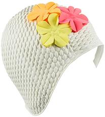 Latex Bubble Crepe Swim Bathing Cap with 3 Flowers - White