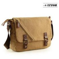 Buckled Flap Canvas Messenger Bag