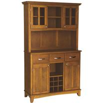 Styles Large Buffet with Two Glass Door Hutch, Cottage Oak