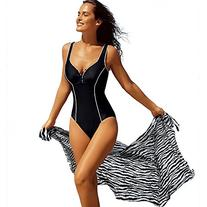 Delimira Women's Plus Size Built-in Cup One Piece Deep-V