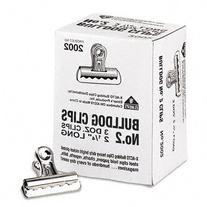 "-- Bulldog Clips, Steel, 1/2"" Capacity, 2-1/4""w, Nickel-"