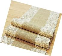 Natural Burlap Table Runner with Lace Wedding Decor Rustic