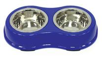 Ethical Pets Color Burst Double Diner Bowl, Small, Blue