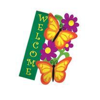 Evergreen Flag & Garden Butterfly Garden Vertical Flag