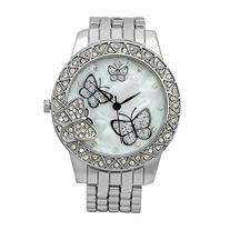 ShoppeWatch Womens Butterfly Watch MOP Dial Metal Bracelet