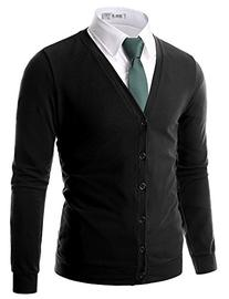 Doublju Mens Button Down V-Neck Cardigan, X-Large, Black
