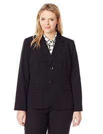 Nine West Women's Plus-size Two Button Solid Jacket, black,