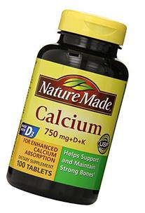 Nature Made Calcium 750 Mg, with Vitamin D and K, 100-Count