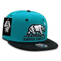 California Republic Snapbacks, Teal Black
